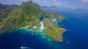 Bacuit Archipel, El Nido, Palawan, Philippinen, Luftaufnahme