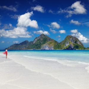 Palawan Philippinen Frau am Strand